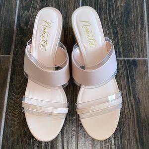 Nanette Lepore nude blush slip on wedge sandals